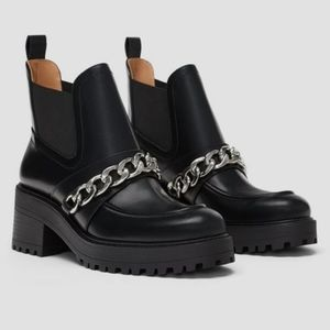 Zara chunky ankle boots with silver chain detail